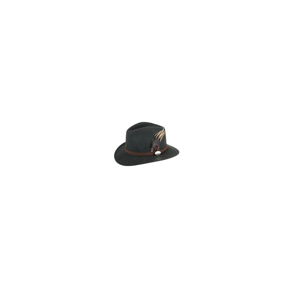 Hicks & Brown Suffolk Fedora Hat with Guinea and Pheasant Feather - Olive Green