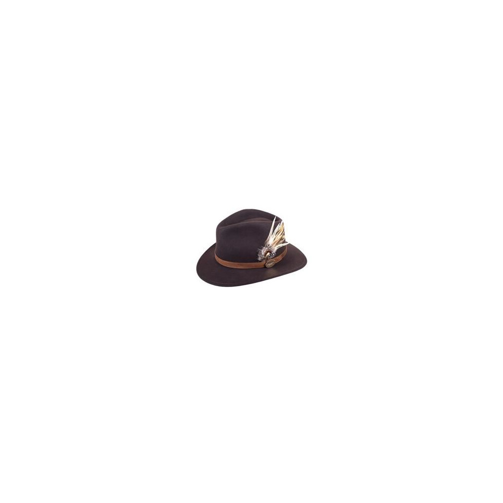 Hicks & Brown Hicks &  Suffolk Fedora Hat with Guinea and Pheasant Feather Brown