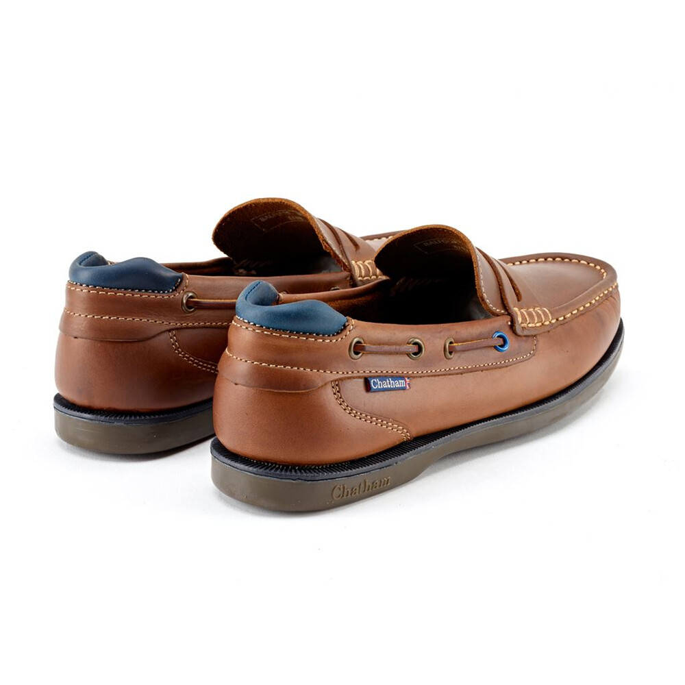 Chatham Balfour Premium Leather Boat Shoes - Tan Navy Tan Navy