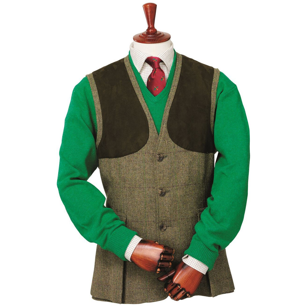 Laksen Dorset Tweed Shooting Vest Green