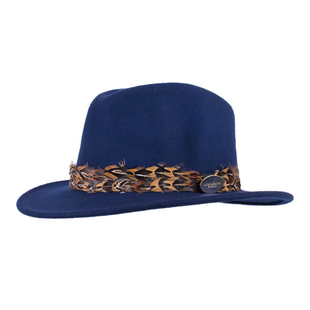 Hicks & Brown Hicks & Brown Suffolk Fedora Hat with Pheasant Feather Wrap - Navy