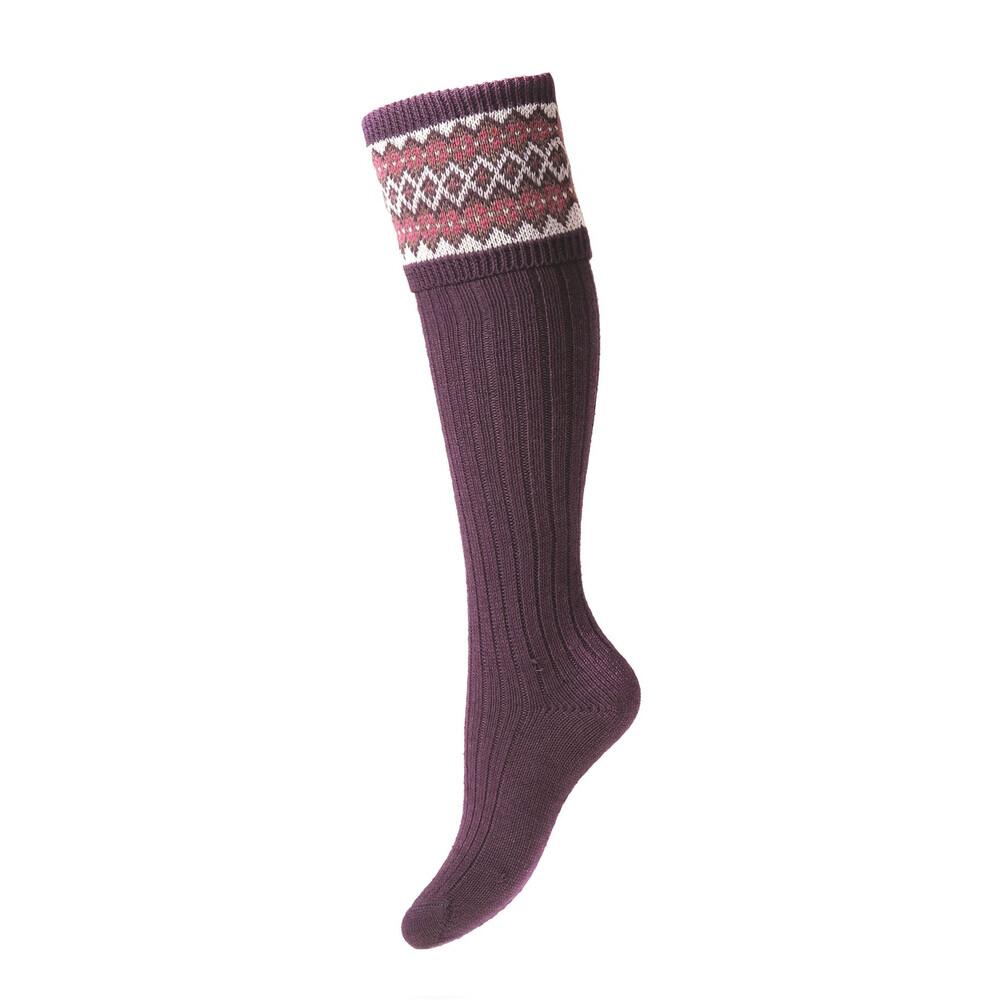 House of Cheviot Lady Fairisle Sock - Thistle Thistle