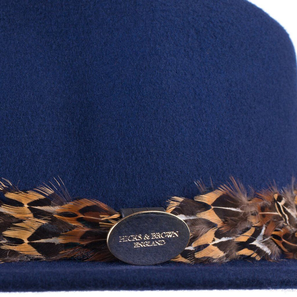 Hicks & Brown Suffolk Fedora Hat with Pheasant Feather Wrap - Navy Blue