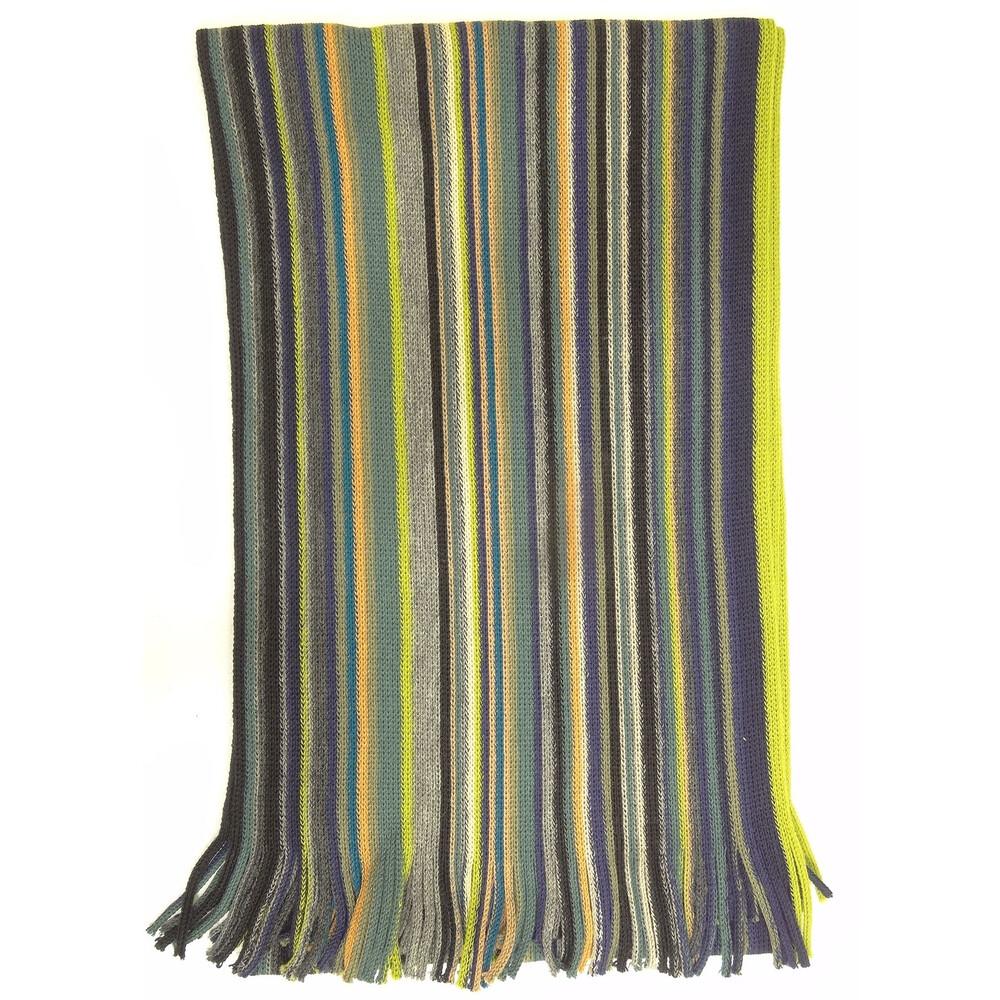 Hugo Spiecker Hugo Spiecker 100% Pure New Wool Scarf - Green/Yellow/Blue