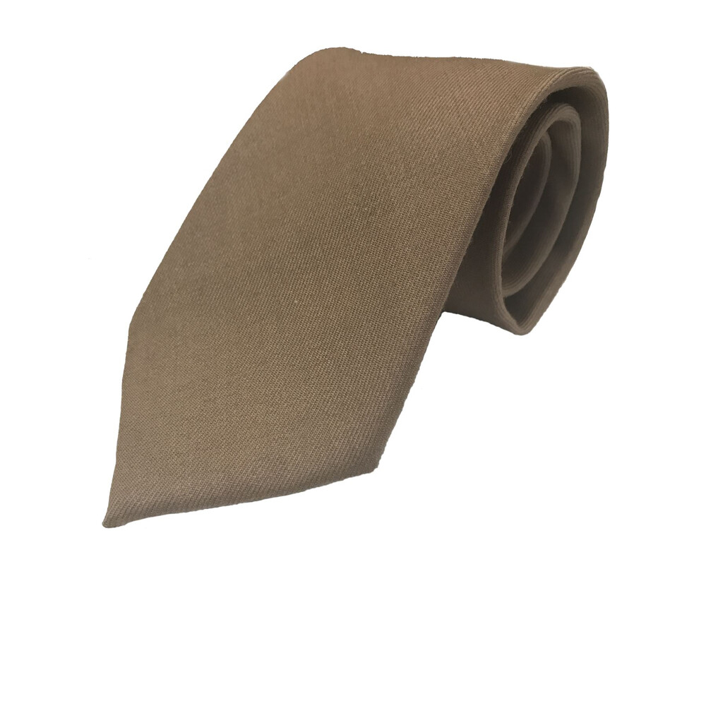 Soprano Luxury Wool Plain Tie - Fawn