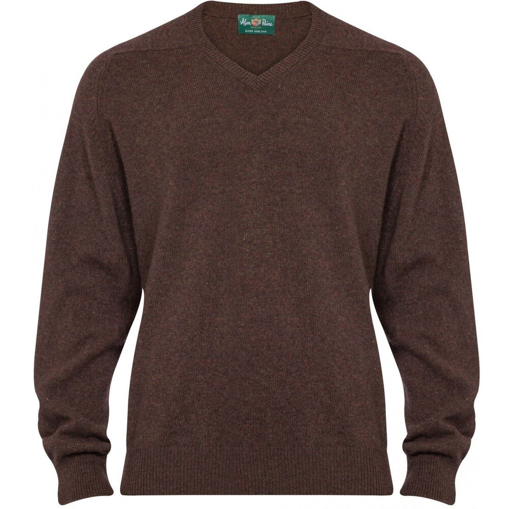 Alan Paine Alan Paine Stratford Geelong Wool V-Neck Jumper - Leather