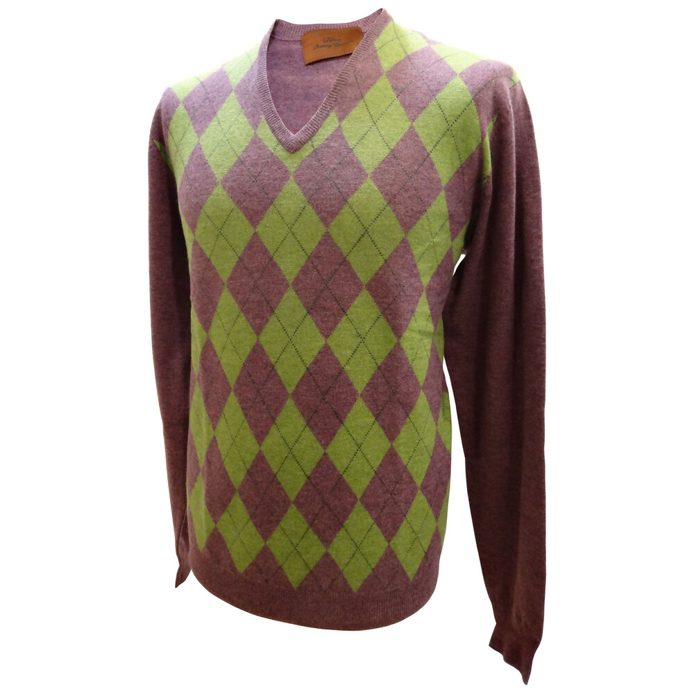 Laksen Argyle Mens V-Neck Knit - Purple/Green