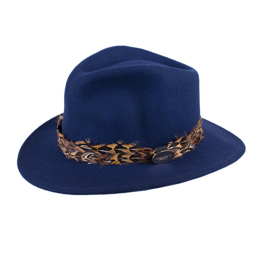Hicks & Brown Suffolk Fedora Hat with Pheasant Feather Wrap - Navy Navy