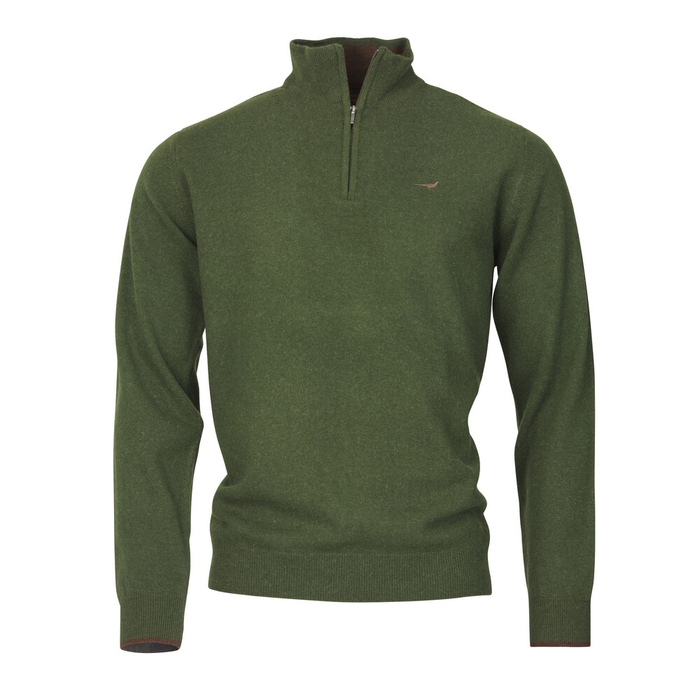 Laksen Wilton Zip-neck Sweater - Olive