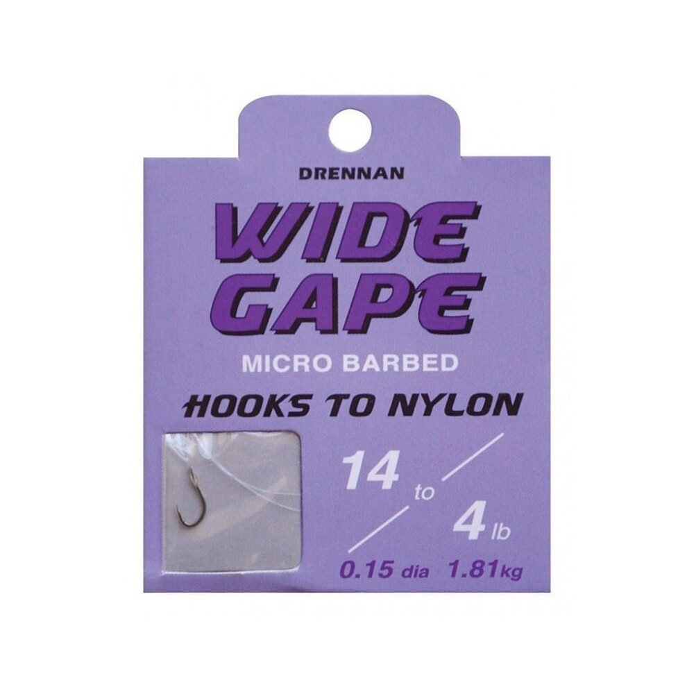 Drennan Hook To Nylon - Wide Gape - Barbed