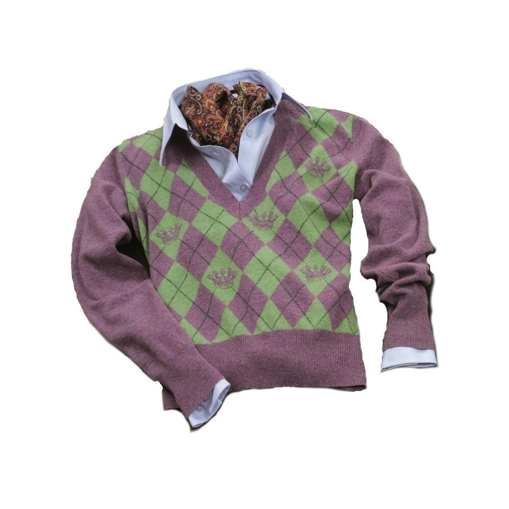 Laksen Laksen Argyle Womens Sweater - Heather and Lime Melange