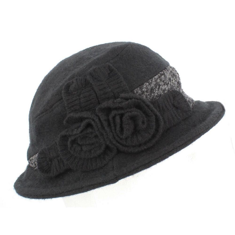 Wool Blend Ladies Felt Hat - Tweed Trim - Black Black
