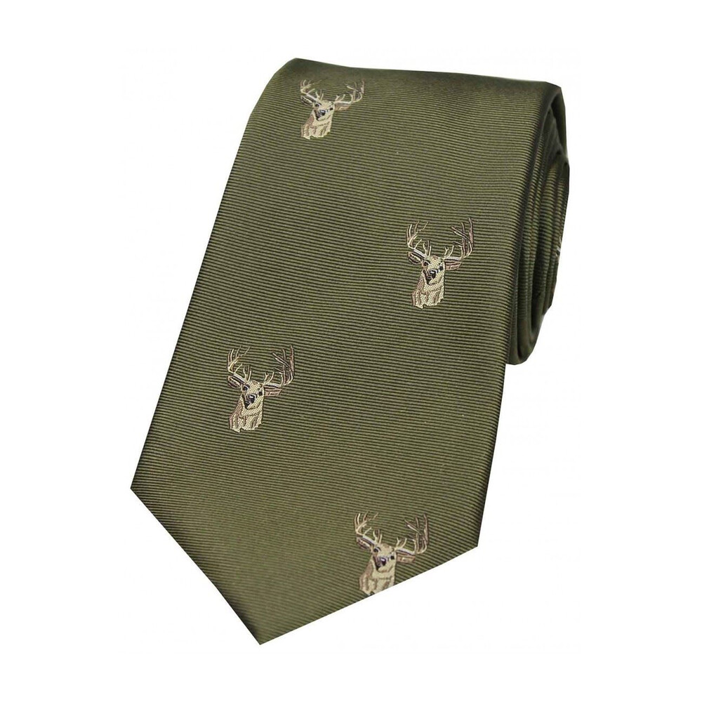 Soprano Country Silk Tie - Woven Stag Head - Olive