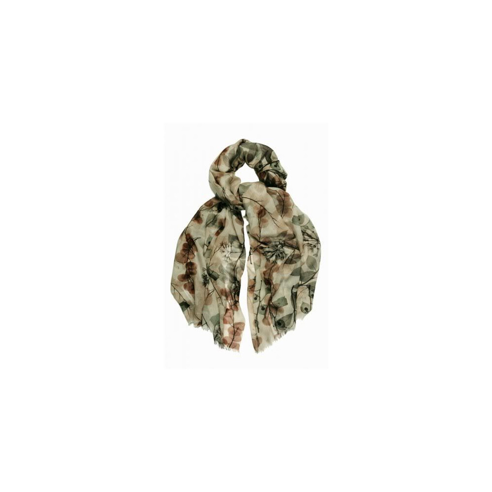 Murray Hogarth Hogarth Translucent Floral Lambswool Scarf - Neutral Natural Woodland
