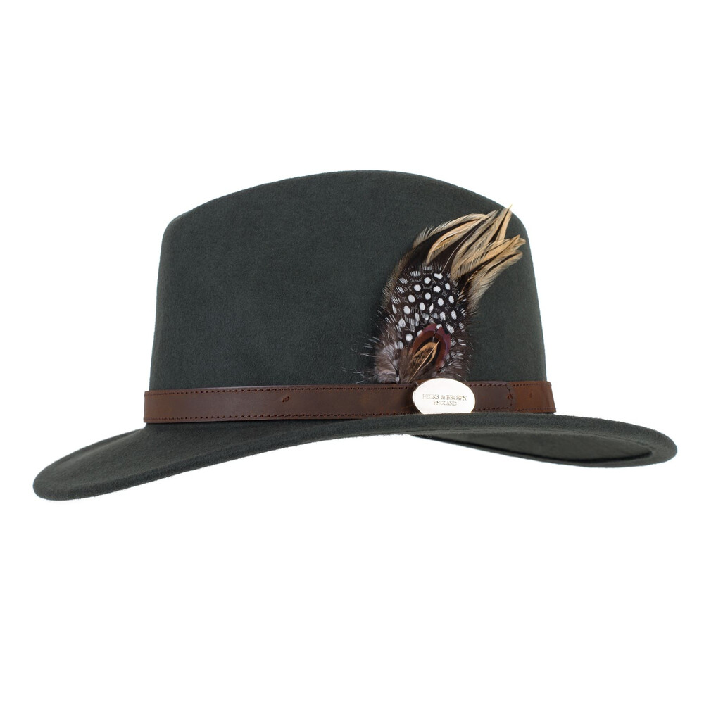 Hicks & Brown Hicks & Brown Suffolk Fedora Hat with Guinea and Pheasant Feather - Olive