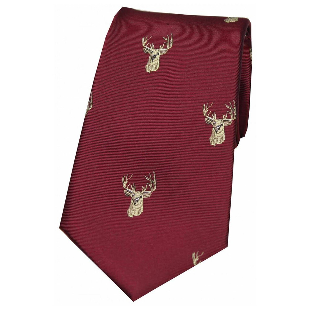 Soprano Country Silk Tie - Woven Stag Head - Wine
