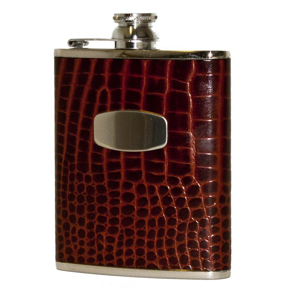 Bisley Hip Flask - Brown Croc Leather - 6oz