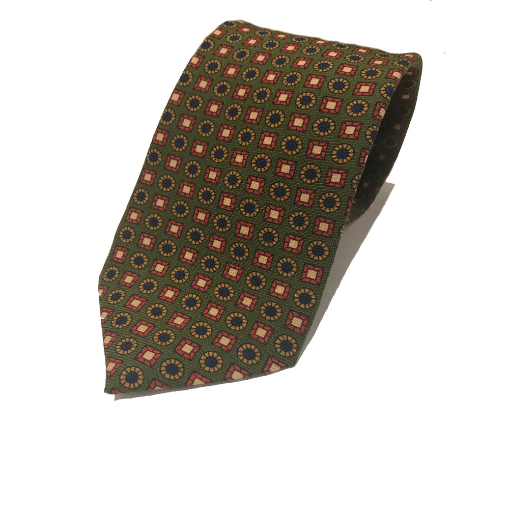 Allcocks Wool Tie Square & Circle Pattern - Gold & Navy