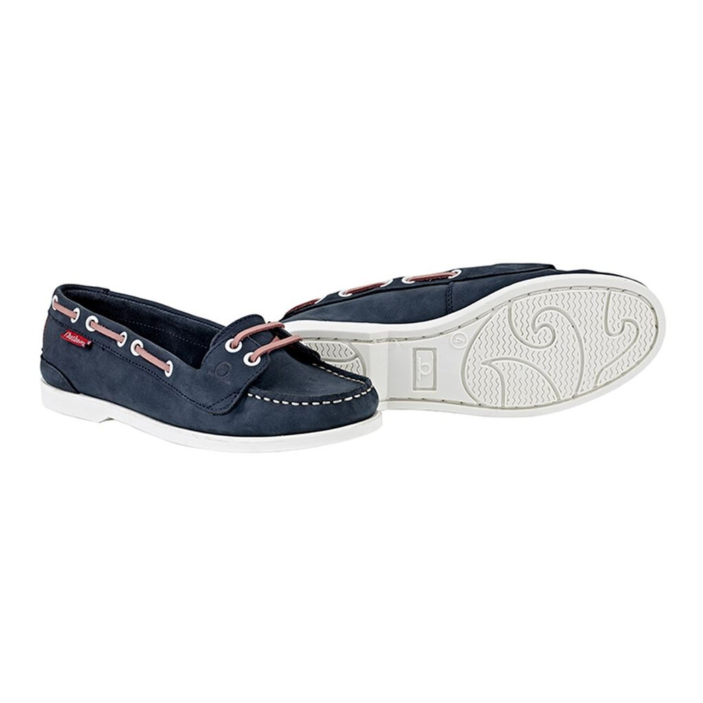 Chatham Rema Leather Boat Shoe Navy/Pink