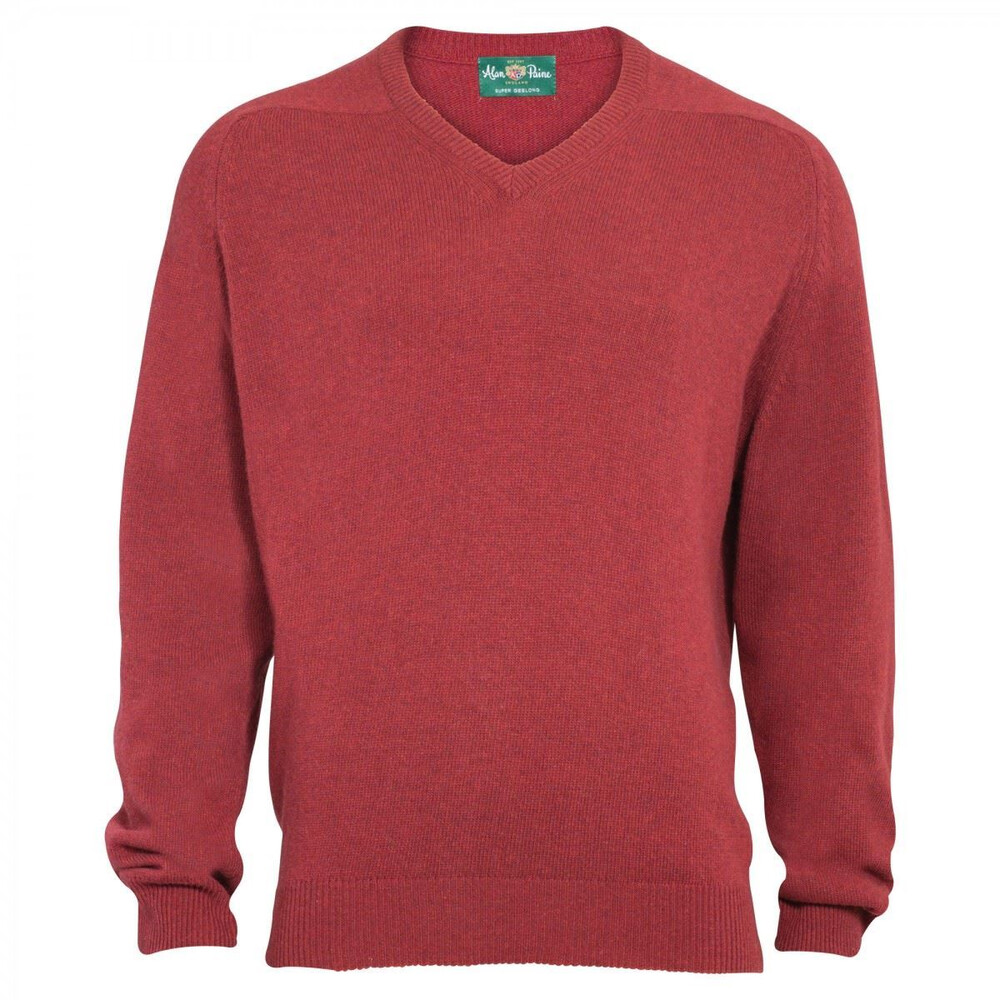 Alan Paine Alan Paine Stratford Geelong Wool V Neck Jumper - Poppy