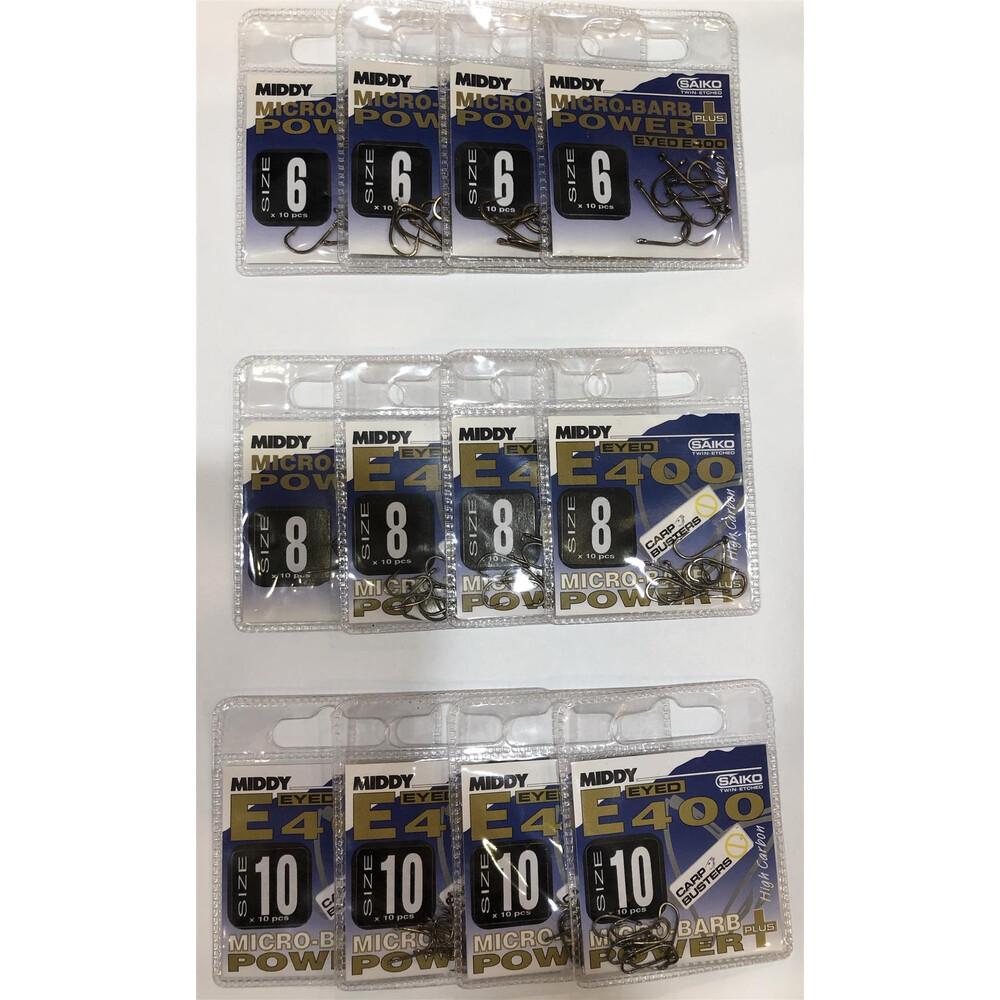 Middy E400 Hooks Bundle - 12 Packs - Size 6, 8 & 10