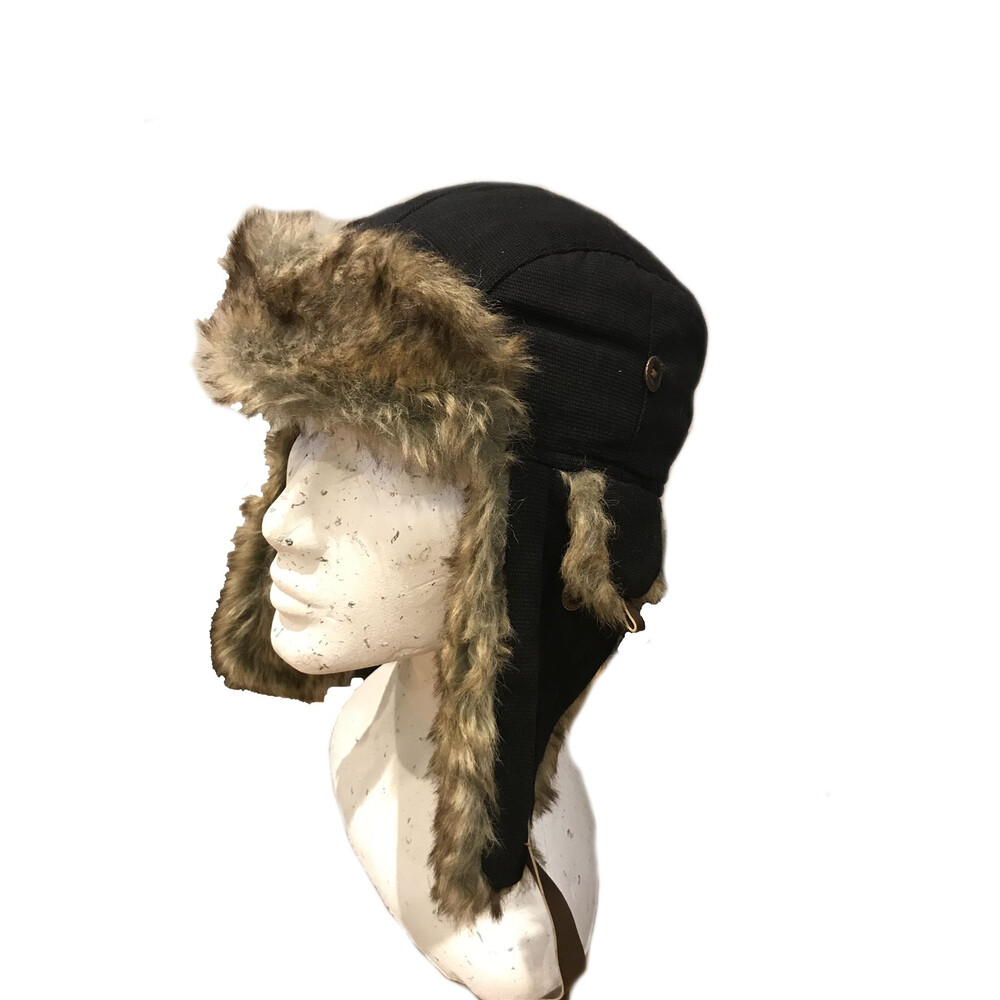 Unknown Kurt Canvas Trapper Hat in Black