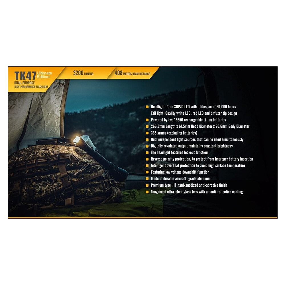Fenix TK47 Ultimate Edition Torch 3200 Lumens Black