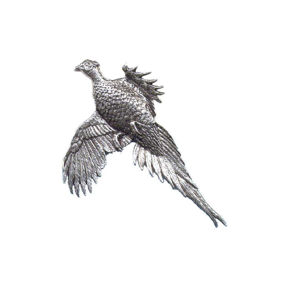 John Rothery Pewter Pin Badge - Large Flying Pheasant