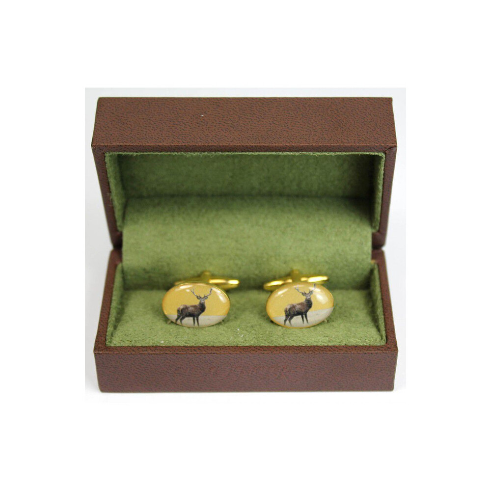 Soprano Country Cufflinks - Standing Stag Gold