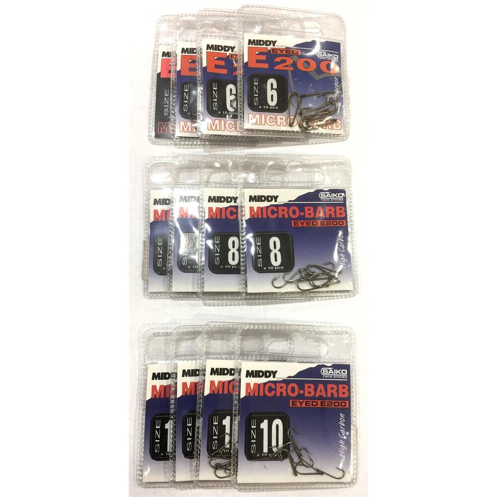 Middy E200 Hooks Bundle - 12 Packs - Sizes 6, 8 & 10