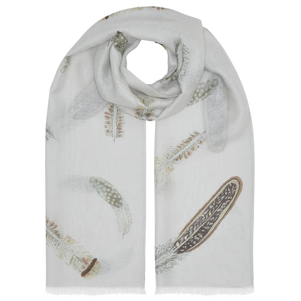 Evemy & Evemy Pluma Silk Scarf - Game Bird Feathers Brown