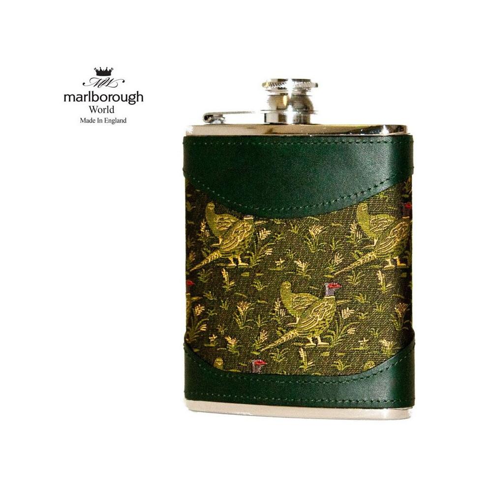 Marlborough 6oz Pheasant Scene Hip Flask Green