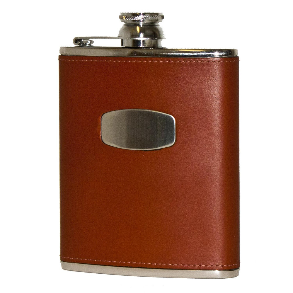 Bisley Hip Flask - Brown Leather - 6oz