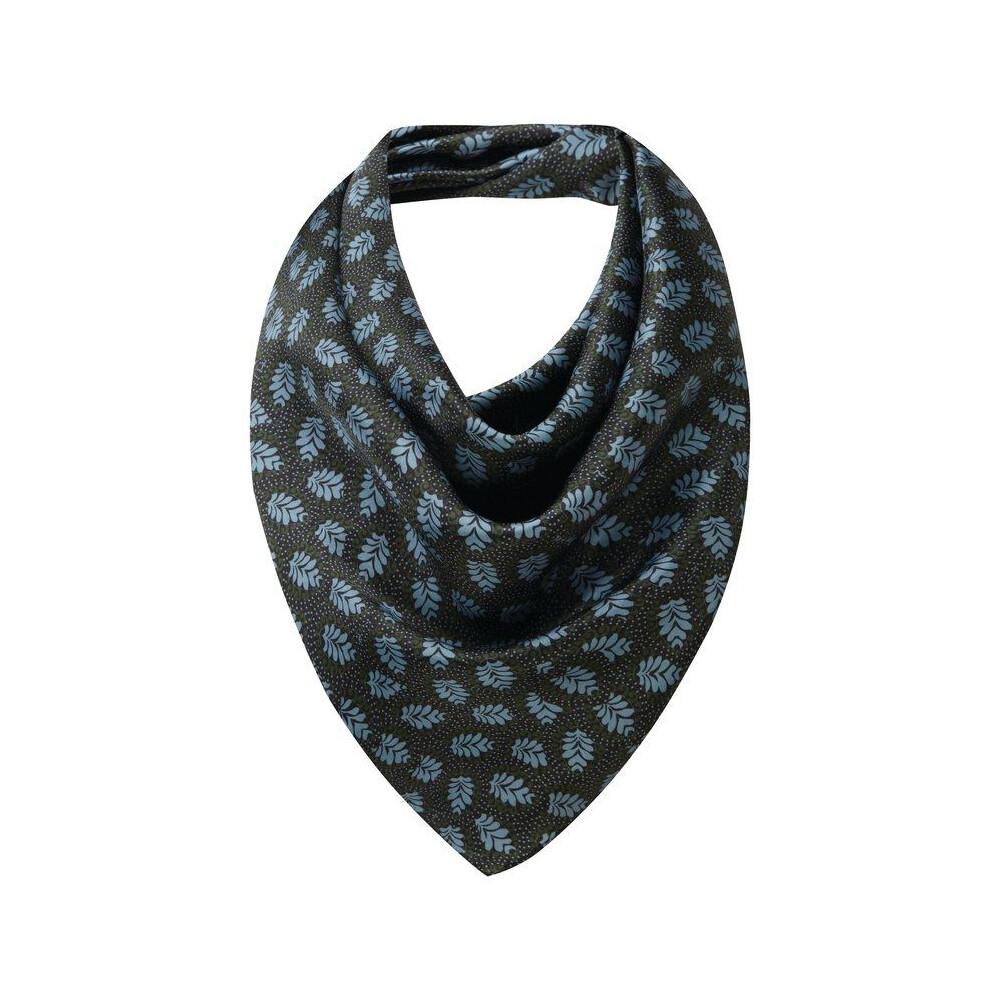 Schoffel Silk Printed Scarf - Dark Olive/Blue Multi