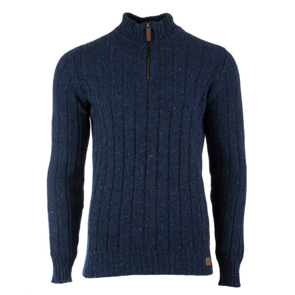 Hawick Donegal Zip Neck Jumper - Blueberry - 2XL