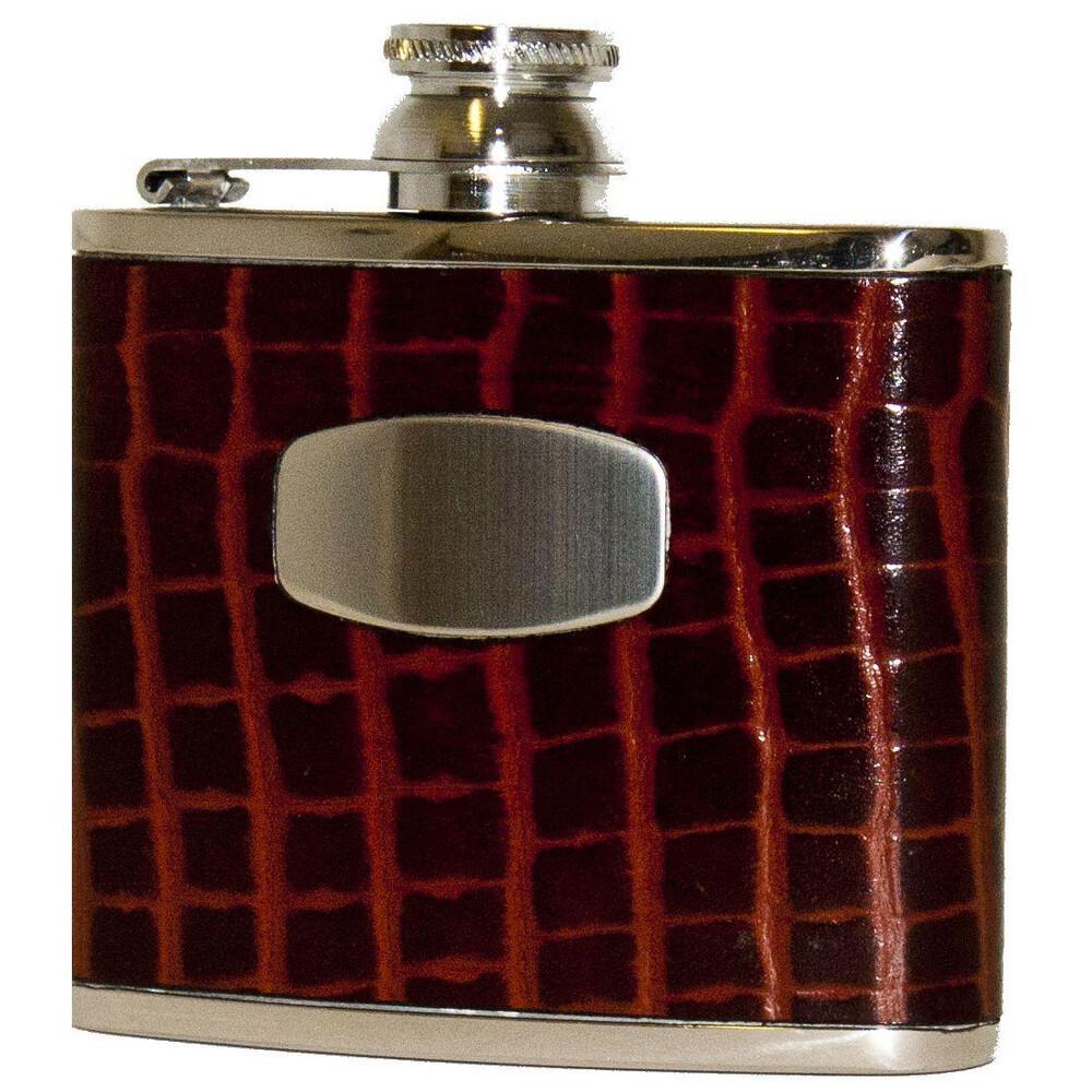 Bisley Hip Flask - Brown Croc Leather - 4oz