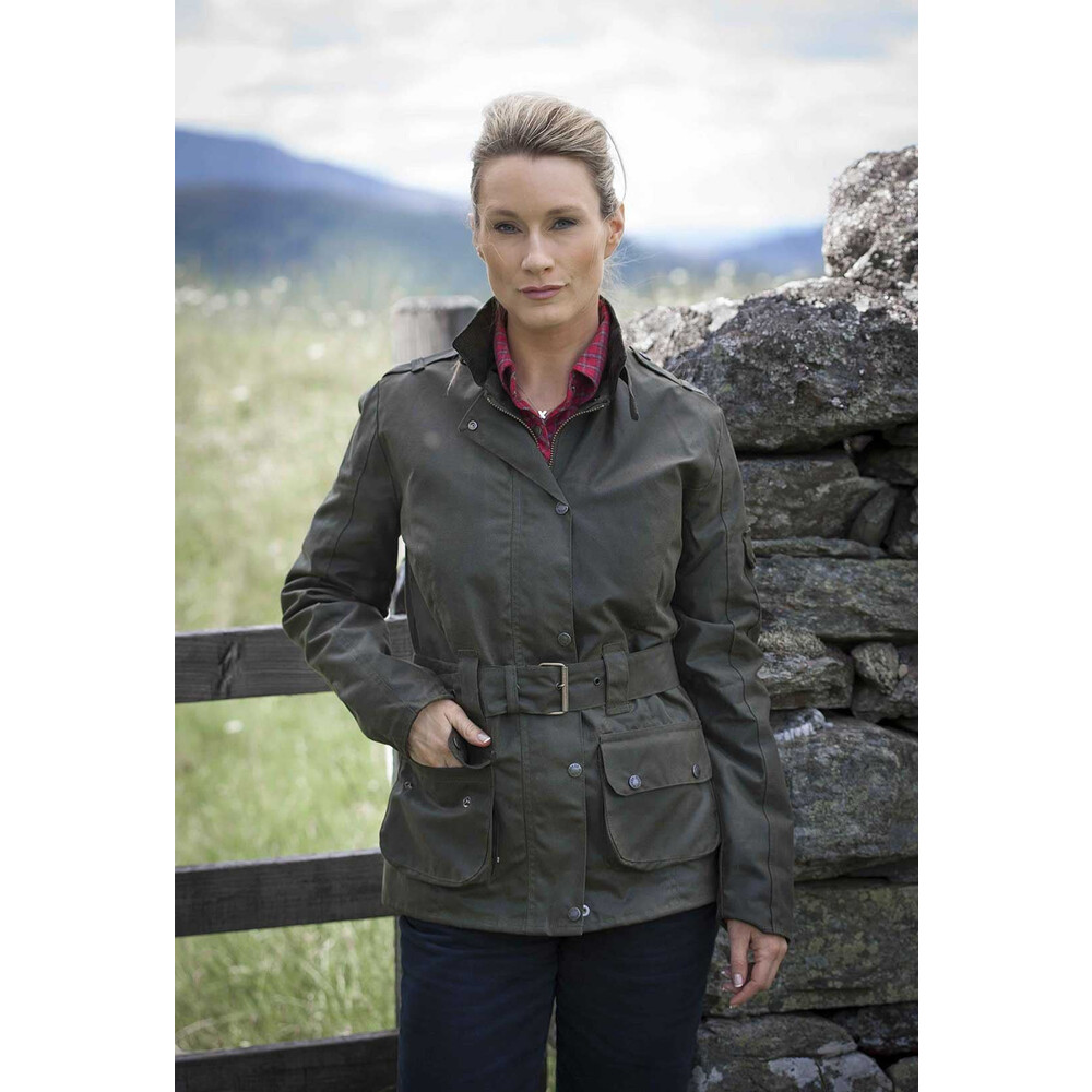 Hoggs Of Fife Hoggs of Fife Cheltenham Ladies Wax Jacket - Olive Green