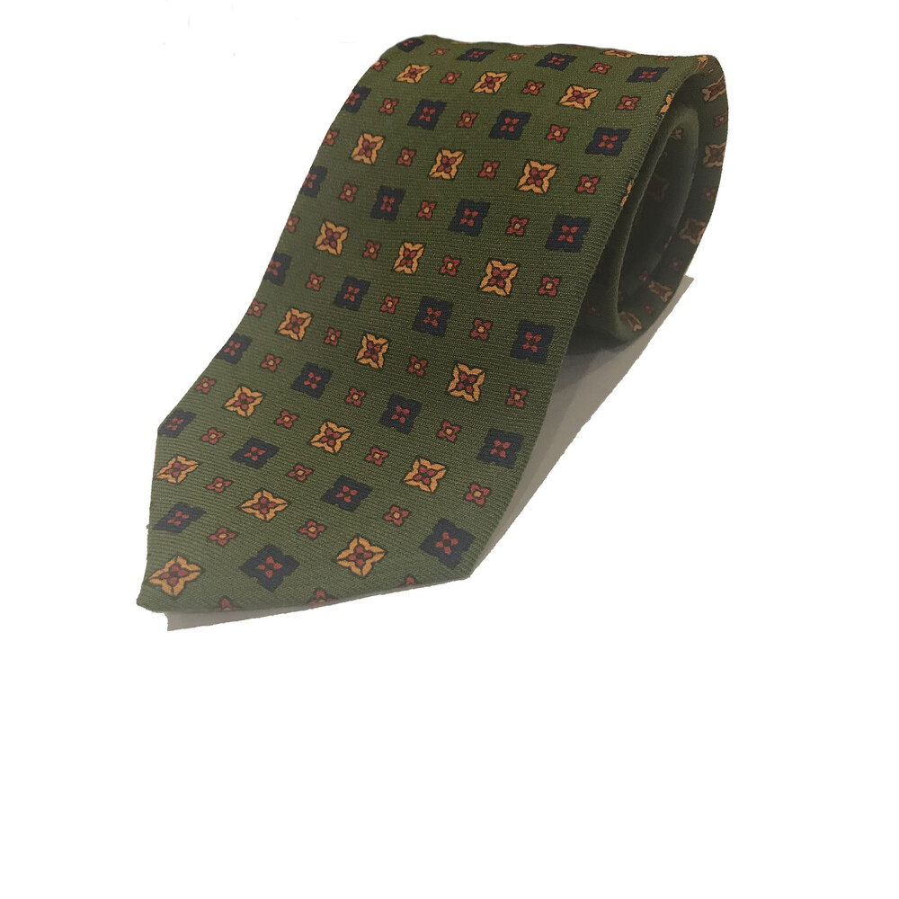 Allcocks Wool Tie Square Pattern - Gold & Navy
