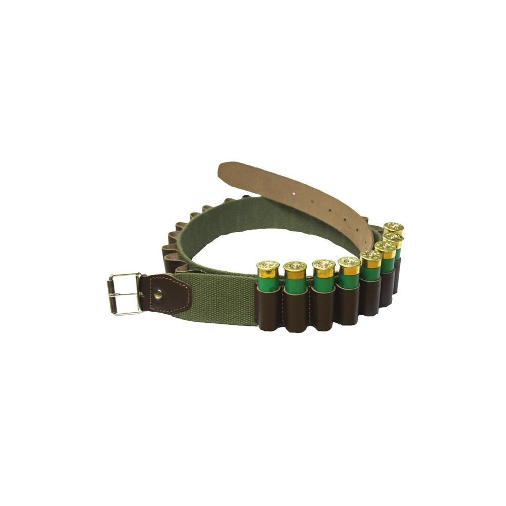 Bisley Cartridge Belt - Canvas with Leather Loops - 12 Gauge Green