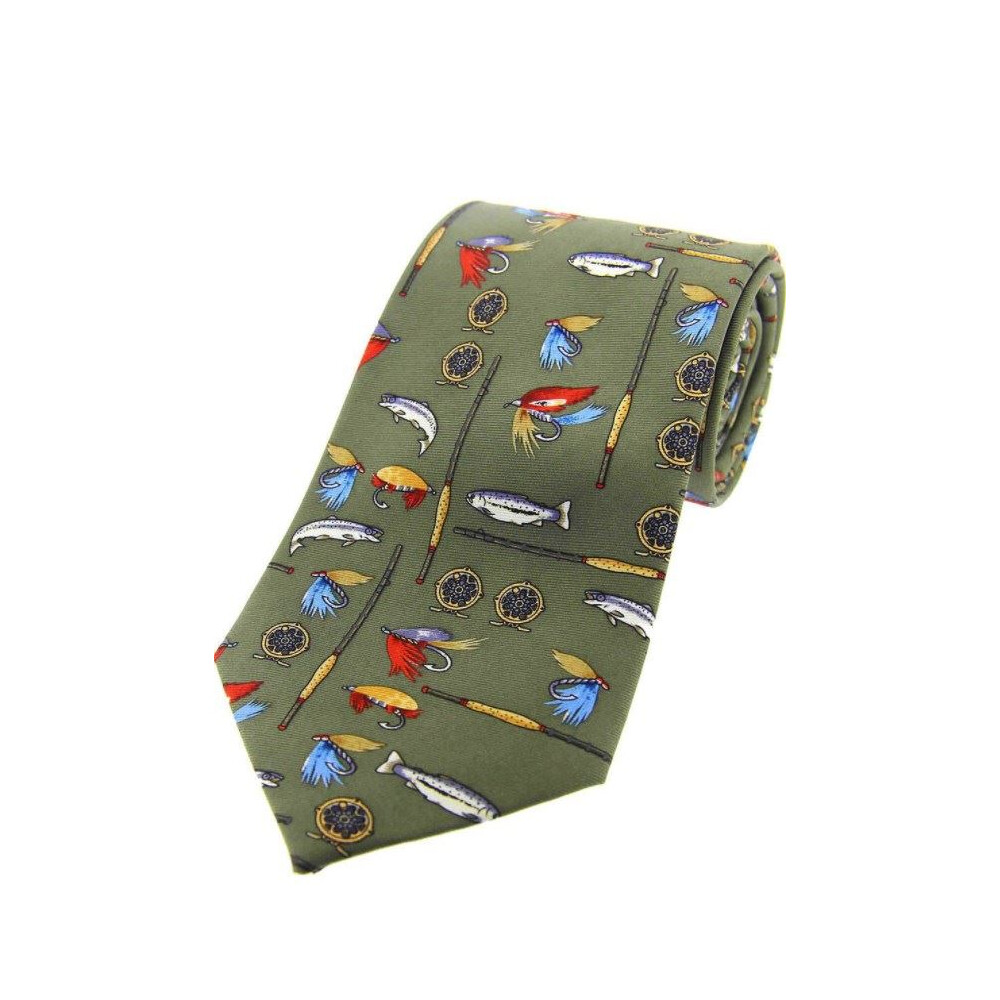 Soprano Country Silk Tie - Fishing Tackle - Green Green