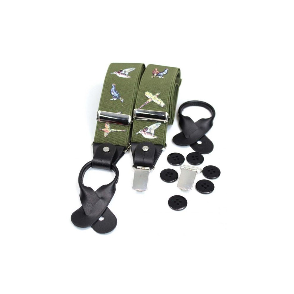 Soprano Country Luxury 2 in 1 Braces - Birds Army Green