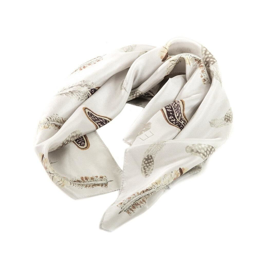 Evemy & Evemy Pluma Silk Scarf - Square - Game Bird Feathers Brown