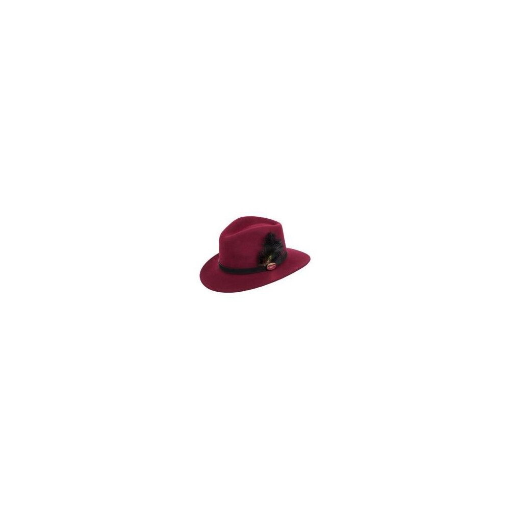 Hicks & Brown Suffolk Fedora Hat with Ostrich and Peacock Feather - Maroon Red