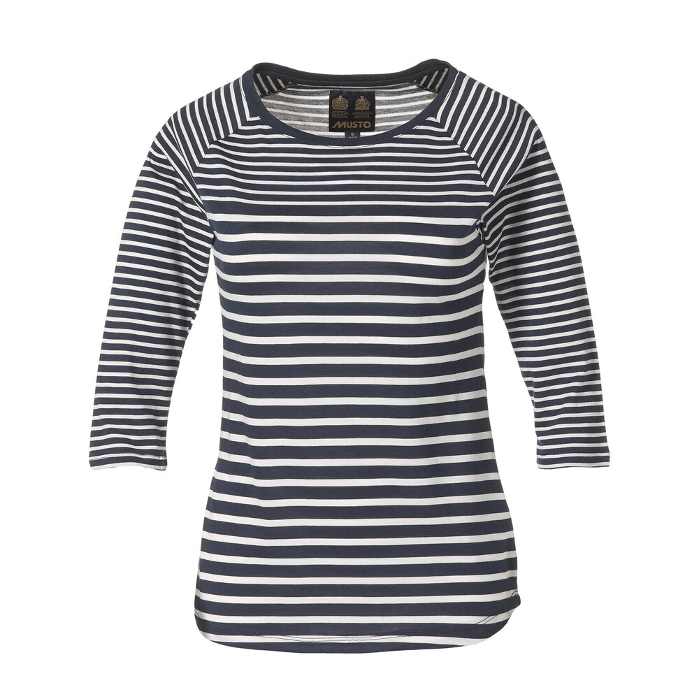 Musto Musto Eleanor 3/4 Sleeve Tee Shirt - Navy and White