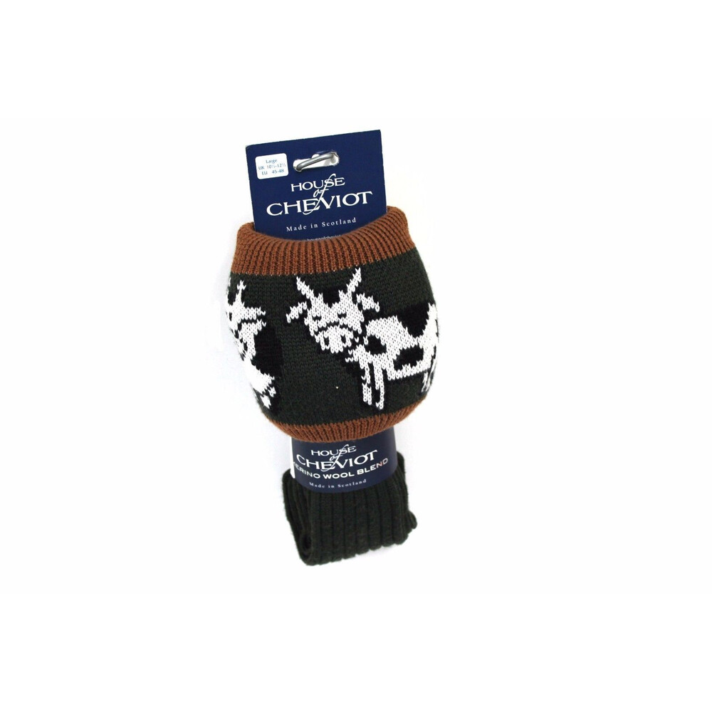 House of Cheviot House of Cheviot Ladies Daisy Cow Sock - Spruce - UK 6-8