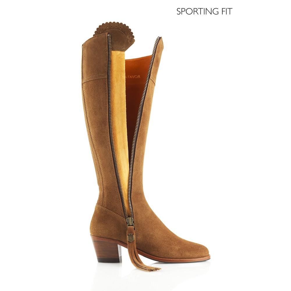 Fairfax & Favor Heeled Regina Boot - Sporting Fit - Tan Tan