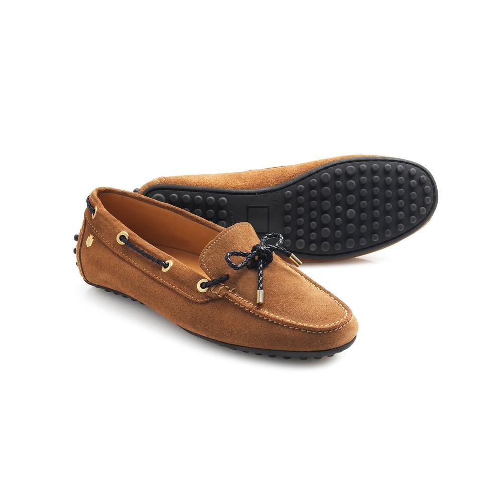 Fairfax & Favor Henley Drivers Shoe - Tan & Navy Tan Navy