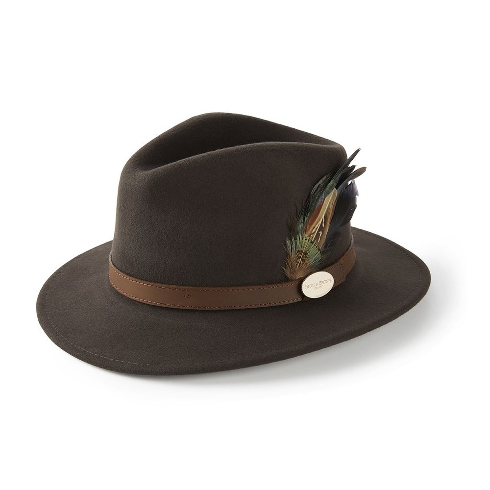 Hicks & Brown Hicks & Brown Suffolk Fedora Hat - Classic Feather- Dark Brown