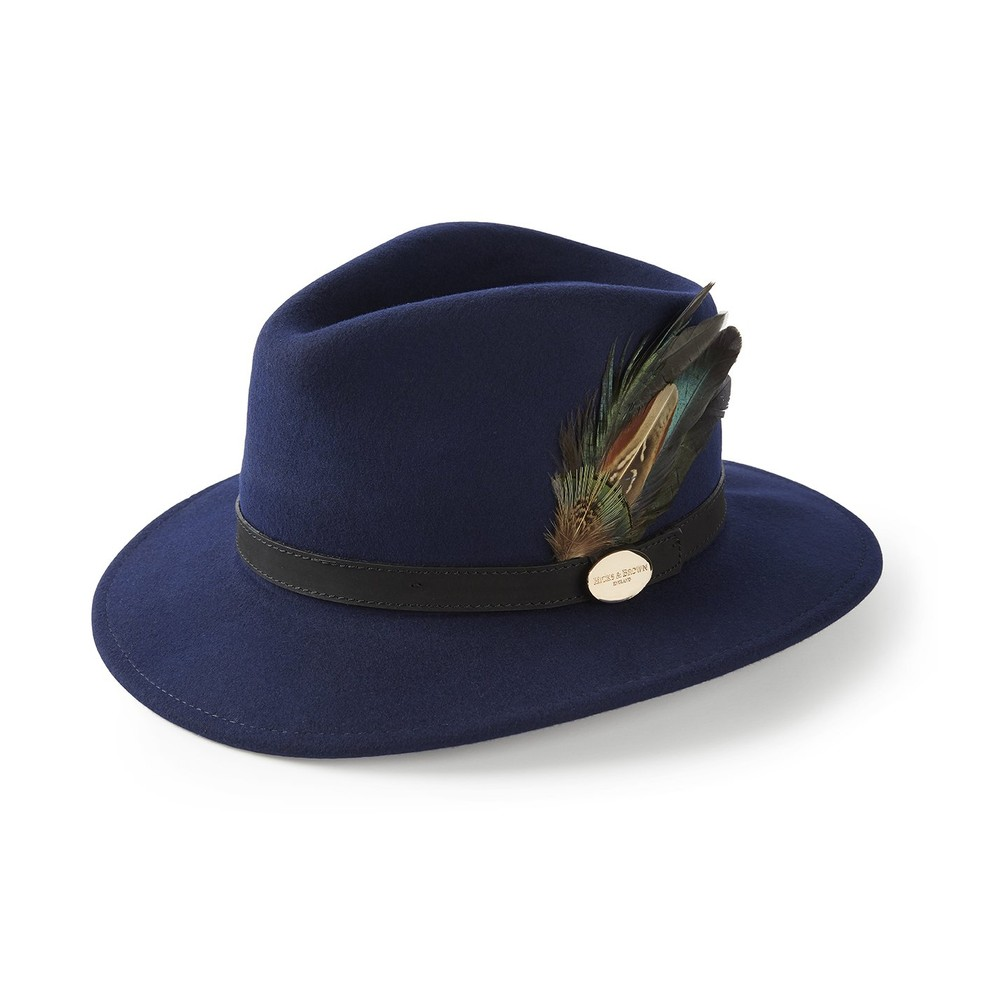 Hicks & Brown Suffolk Fedora Hat - Classic Feather Navy