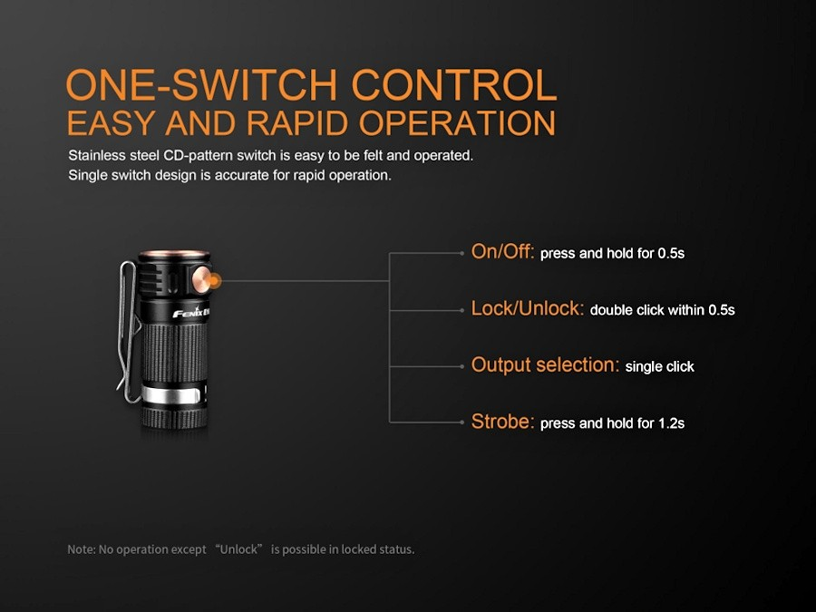 Fenix E16 EDC Torch Black